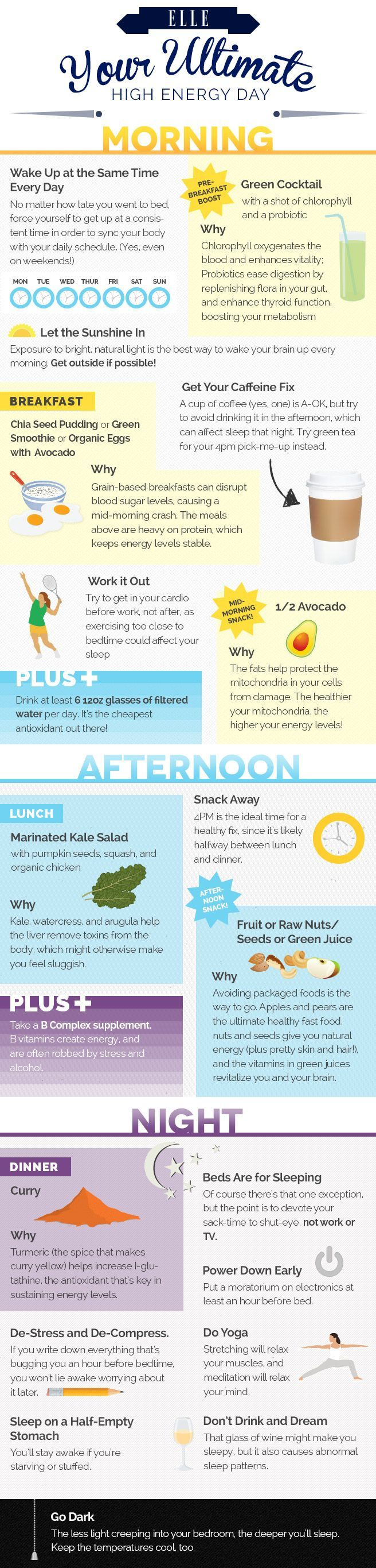 Your Ultimate High Energy Day - How to Get Natural Energy - Elle