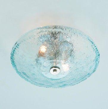 Recycled Bottle Glass Bowl Ceiling Light beach-style-ceiling-lighting
