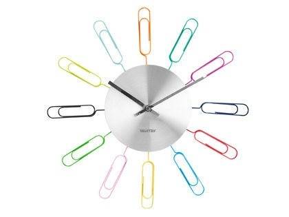 Wanted Multicoloured Paperclip Photo Holder Wall Clock