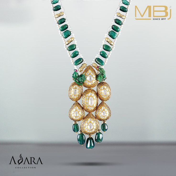 Polki Necklace with Emerald, Pearls and Enamel from ADARA collection.