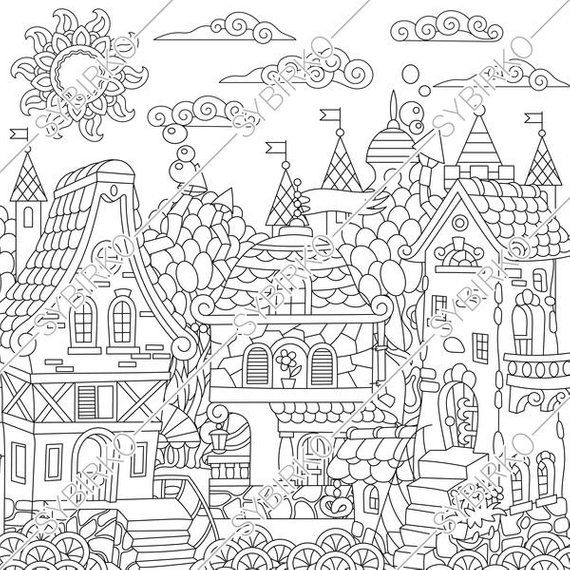 Coloring Pages For Adults Fantasy Fairytale Town Fairy Tale