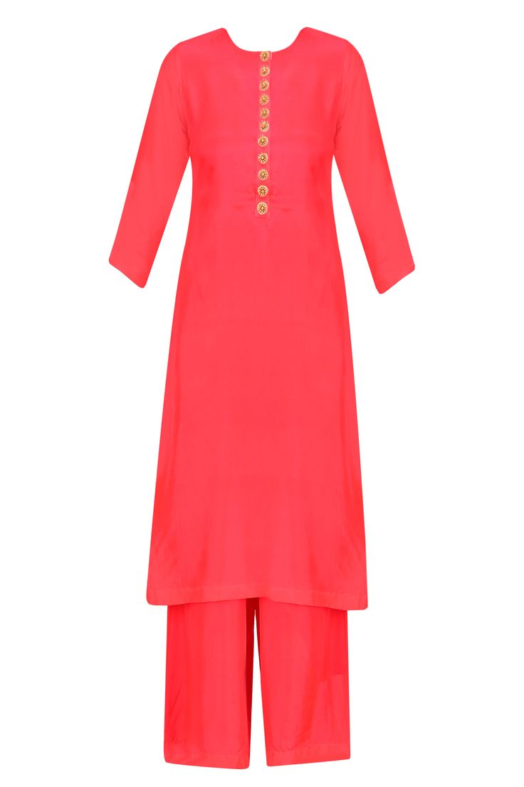Masaba Red straight cut kurta with red pants and gold moor dupatta available only at Pernia's Pop Up Shop.