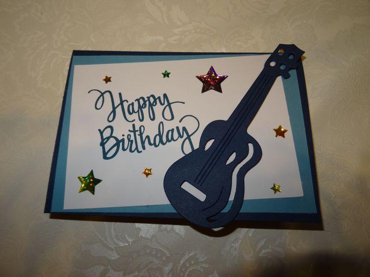 Stampin up SU Geburtstagskarte Kinder Jungen neutral Karten  Jeansblau Flüsterweiß Geburtstag Karte Boy Junge Gitarre Kind