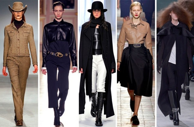 "Theme Trend: Metro-Western There's a new sheriff in town: The ""Urban Cowboy""–or ""Cowgirl"" as the case may be–rides again for fall 2013. This time, she's taken a dark and brooding path that calls for dramatic, street-sweeping coats and rodeo-tailored tops. Paris FW 2013"