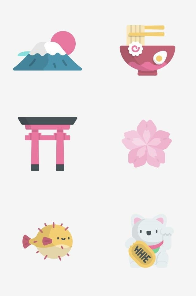 Prototype Japan Japan Mount Fuji Hand Pulled Noodle Torii Cherry Blossoms Png And Vector With Transparent Background For Free Download Mount Fuji Japan Icon Watercolor Art Diy