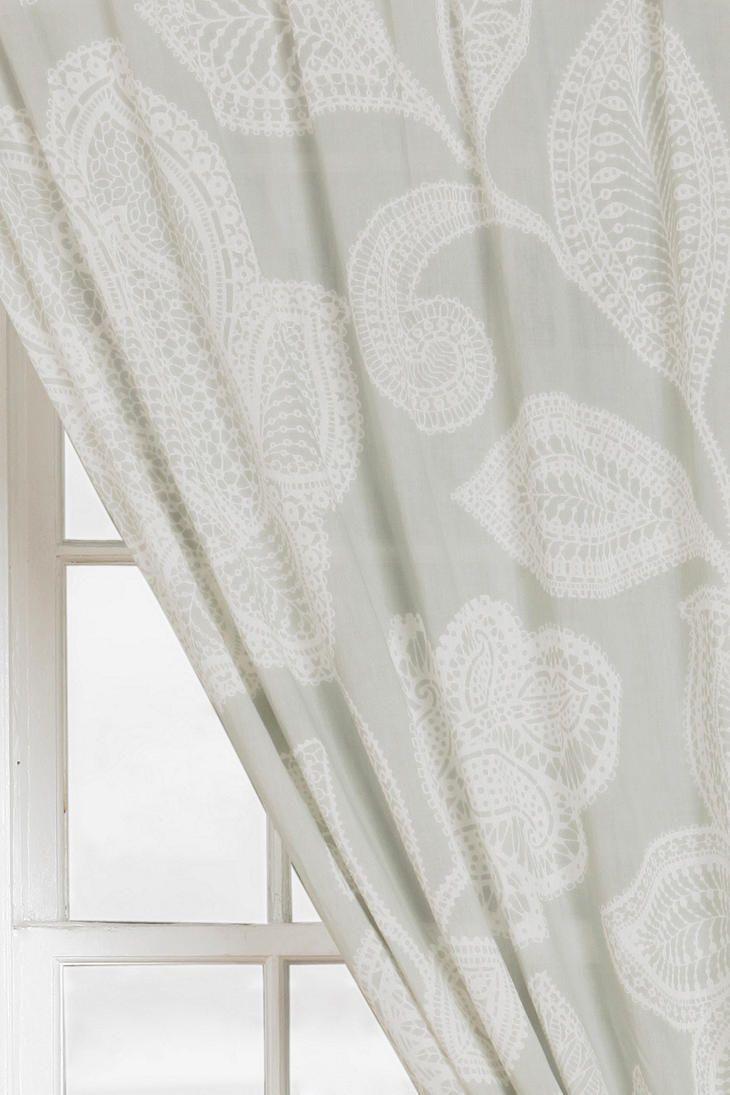 Grayson silver gray jacquard fabric cloth bathroom bath shower curtain - Plum Bow Sugarplum Lace Curtain Online Only