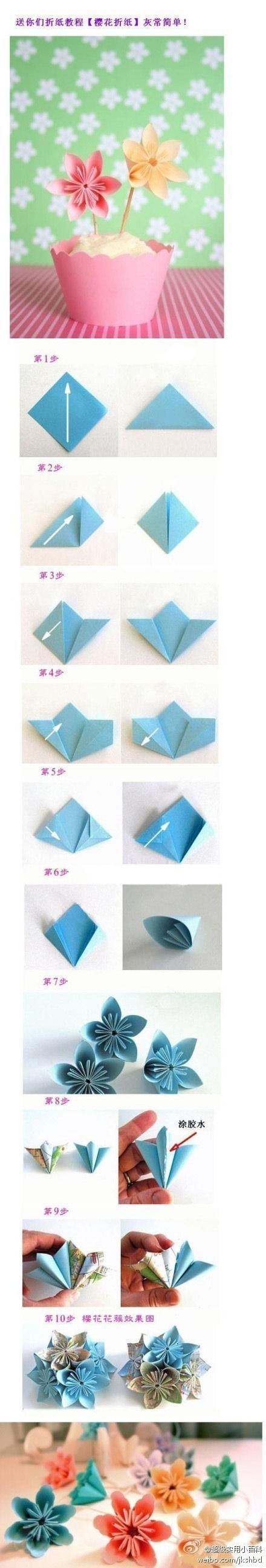 flowerChristmas Paper Folding, Cherries Blossoms, Flower Origami, Paper Flower, Blossoms Origami, Origami Flower, Flower Folding, Flower Tutorial, Flower Diy