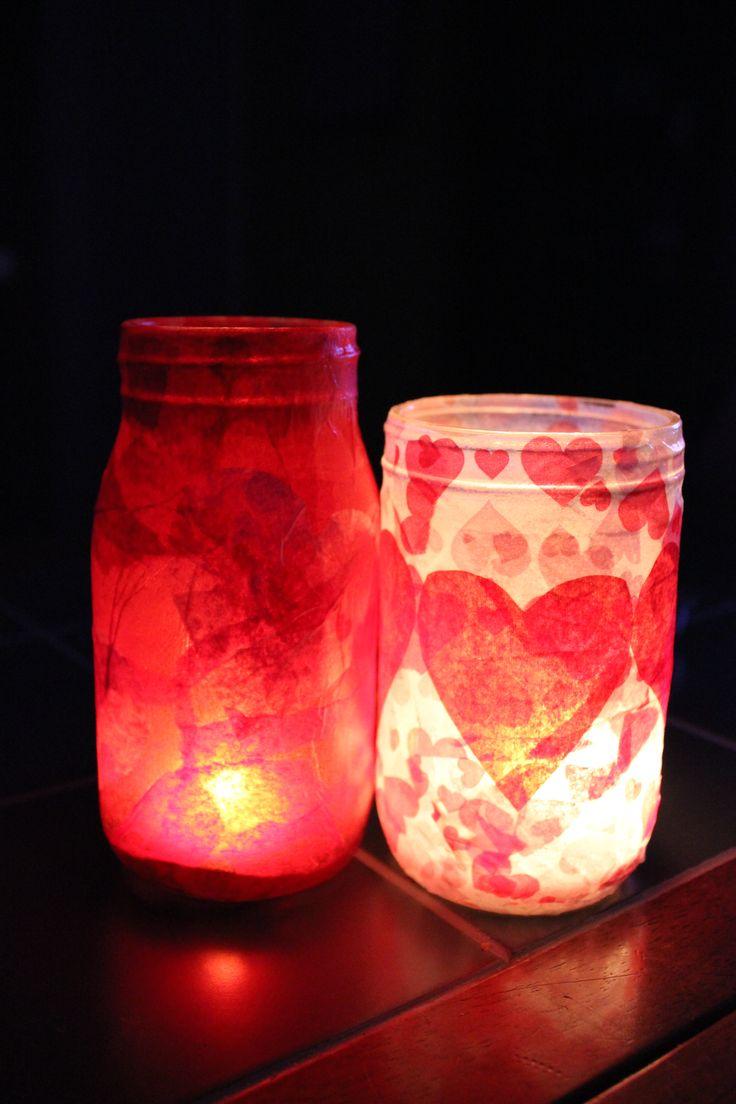 cute & easy valentine's day craft - mod podge + tissue paper