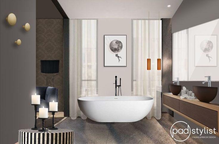 This chic bathroom design is a dream come true for every bath person. Harmonious colour scheme, smart finishes and a cozy nook for a sofa create relaxing atmosphere one could spend a whole day in.