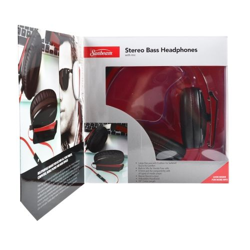 Sunbeam Stereo Bass Headphones Black with Built-in Mic - myaccessoryguy