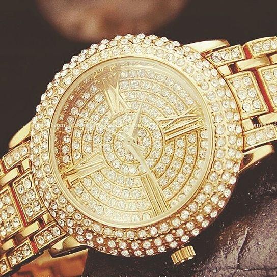 gold bling for ladies | Luxury Women's Gold Bling Crystal Diamond Ladies Bracelet Bangle Wrist ...