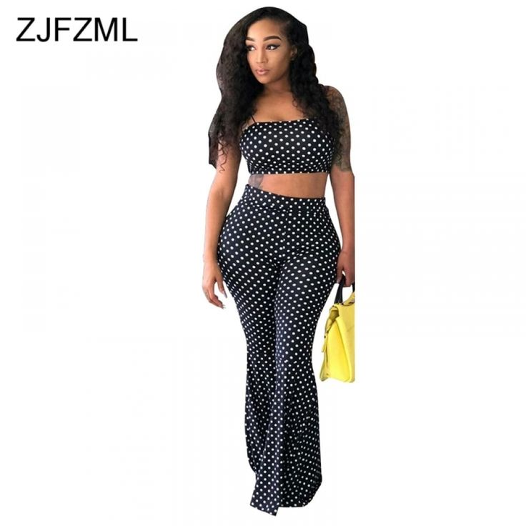 Black White Dot Print 2 Piece Outfits Spaghetti Strap Sleeveless Cami Crop Tops And Elegant Long Flare Trouser