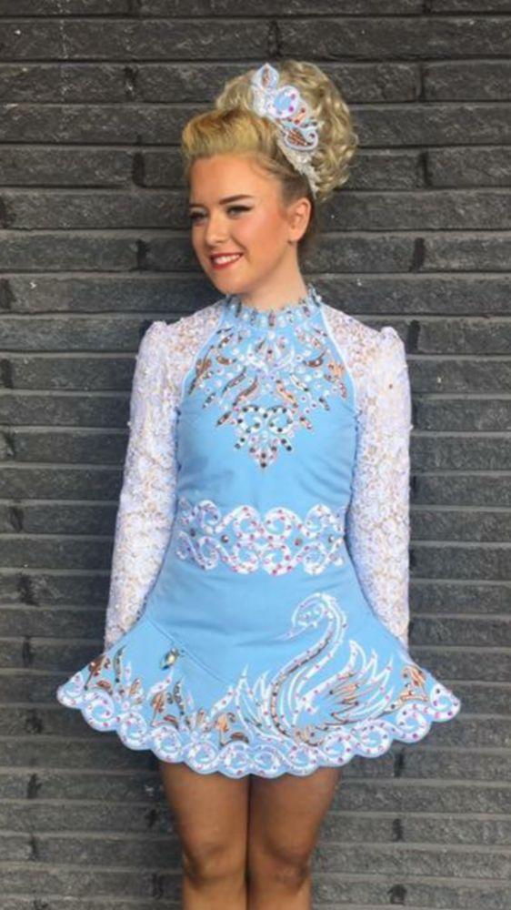 Gorgeous Blue Alana Mallon Irish Dance Dress Solo Costume For Sale