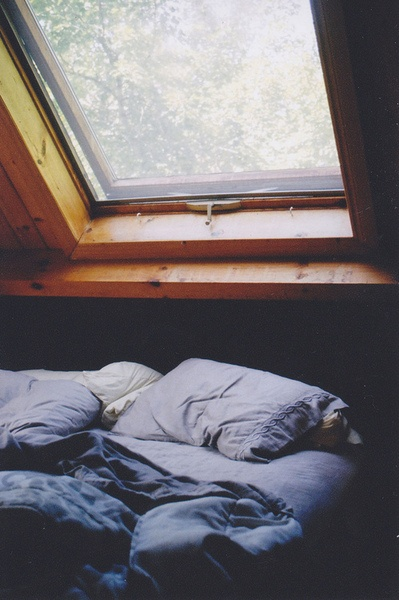 Skylight above bed to see the stars at night. Black shade for sleeping in.