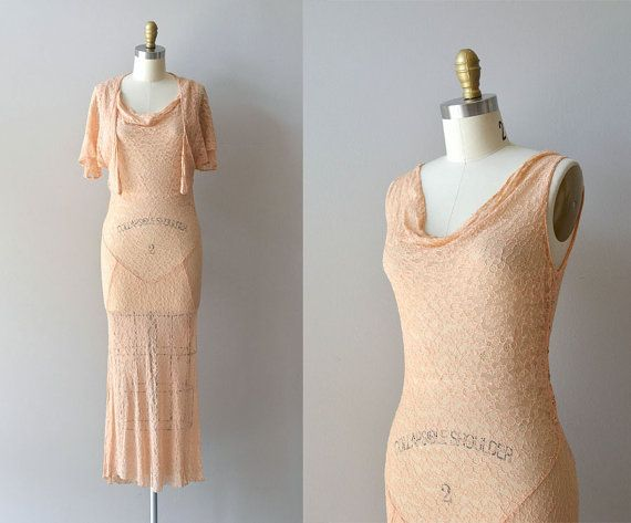 Phedre Lace dress • vintage 1930s dress • silk lace 30s dress