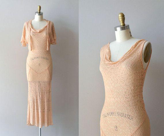 Phedre Lace dress • vintage 1930s dress • silk lace 30s dress