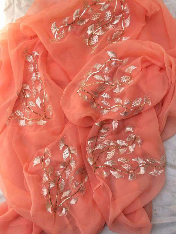 Pure chiffon saree with beautiful embroidery