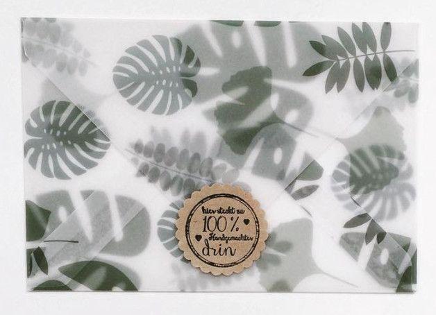 Handgemachte transparente Umschläge. Motiv: Palme  ♥ Verschenken ♥ Dekorieren ♥ Sammeln  Maße: 10,5 cm x 14,8