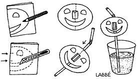 Simpel en origineel idee vanLabbé.de Je hebt nodig een rietje, papier, lijm en een schaar. Teken de Halloween pompoen op …