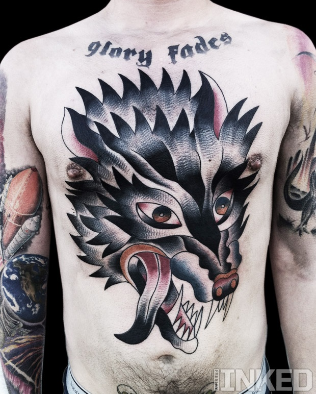 mike adams huge wolf head chest piece tattoos. Black Bedroom Furniture Sets. Home Design Ideas