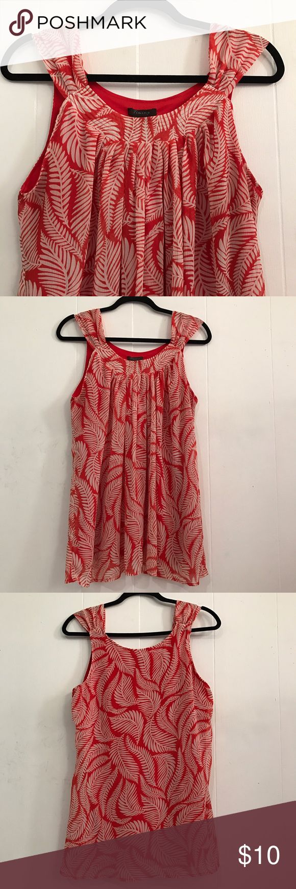 Sexy red orange blouse Sexy red orange blouse. Size: Large. Used a couple of times. Very good condition. Very soft and comfy. Non smoke home. Price is firm ✔️add another bundle to save 10% timing Tops Blouses