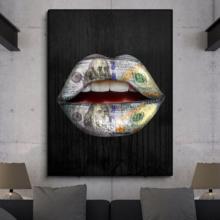 Money Lips Canvas Painting Interior Paint Wall Canvas