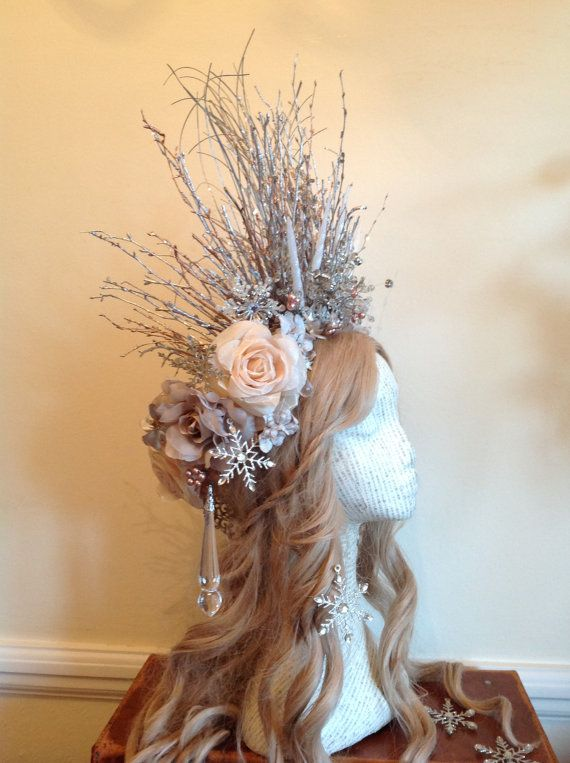 Winter Roses Frost Queen Snowflake Forest Crown by HippyPoppins