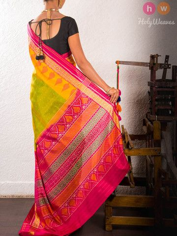 Green Handwoven Katan Silk Patola Saree - HolyWeaves - 3