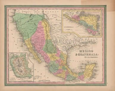 Mexico Vintage Map Tanner 1845 Original for sale. Free insured Priority shipping to the USA. Low International rates. This map ships with a certificate of authenticity.