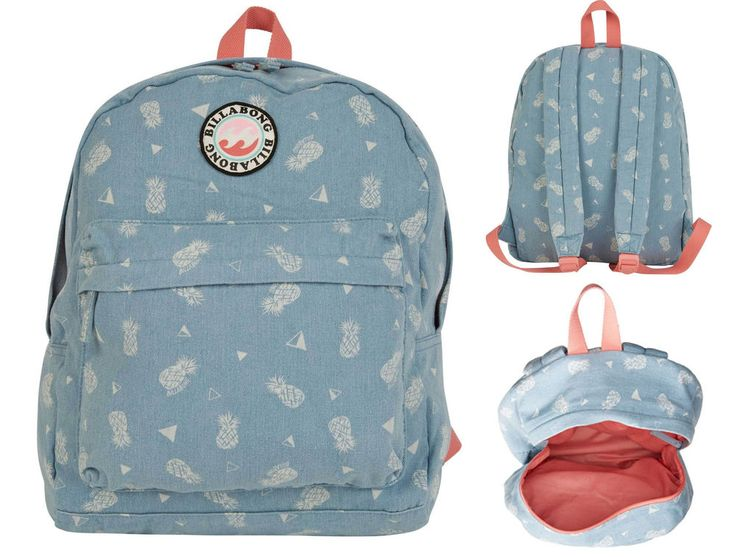 Billabong Backpack for Girls Play Date Canvas Back Pack Bag Indigo Padded Straps #Billabong #girls