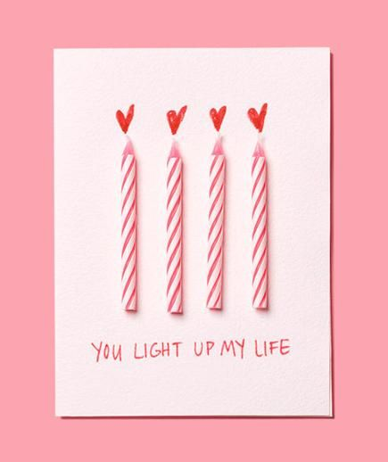 Use birthday candles to make this easy DIY Valentine's Day card. This would be cute in a frame, maybe a two-opening frame with a photo of the people in the other opening.