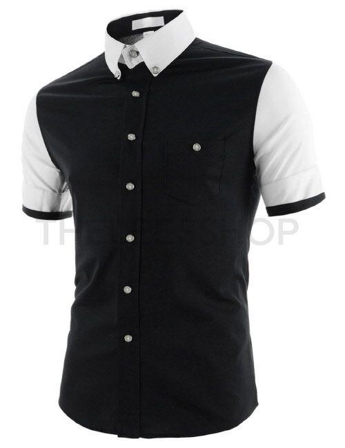 (AL236-BLACK) Mens Slim Fit Stretchy Two-Tone Button Down Short Sleeve Cotton Shirts