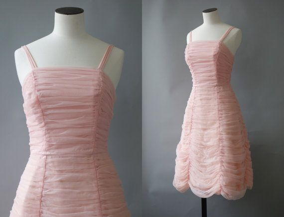 Camelia dress  Baby pink tulle ruched dress  1950's by CubeVintage