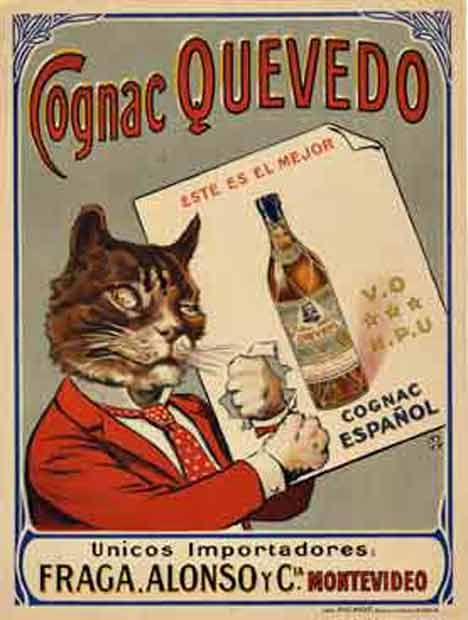 Cats in Art, Illustration, Photography, Design and Decorative Arts: Cognac Cat Poster