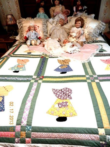 """""""SUNBONNET SUE"""" My Mother made my daughter a quilt just like this using scraps of cloth from the material of her little dresses I made."""