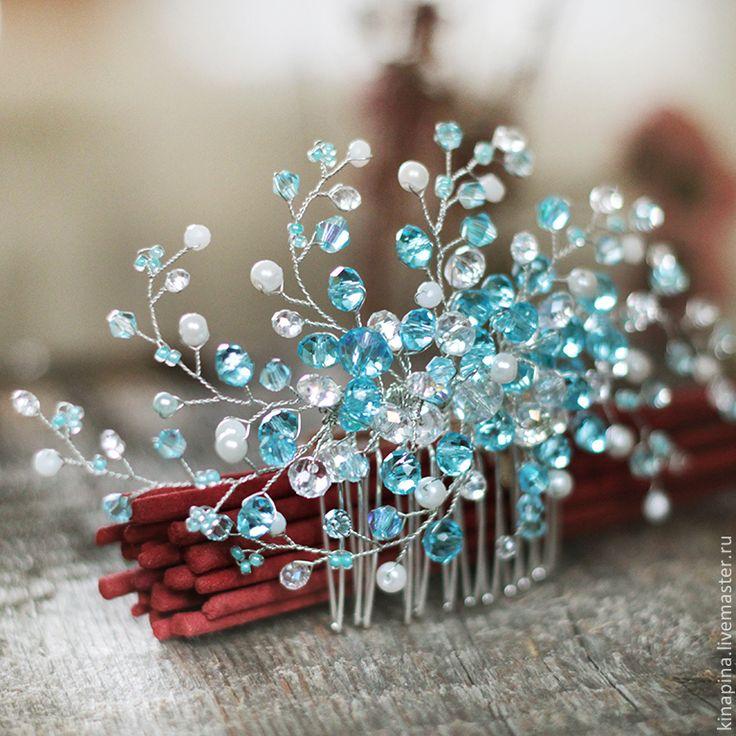 Купить Гребень для свадебной прически невесты бирюзово-голубой с белым. - гребень свадебный, гребень для волос