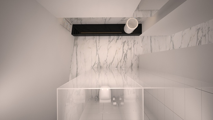 Ocean Front Luxury Apartment by Newpad  Detailed design of the contemporary guest en-suite bathroom.