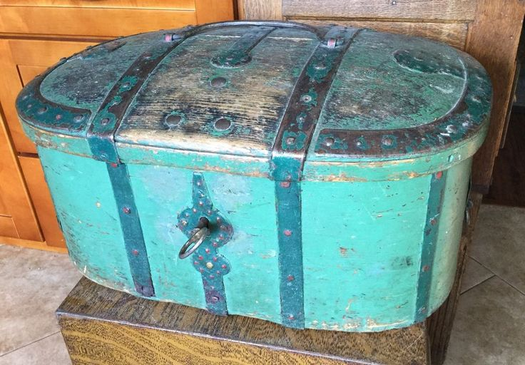 1830 Painted Antique Folk Art Chest Trunk Forged Rivited Strap Hinges, Lock, key