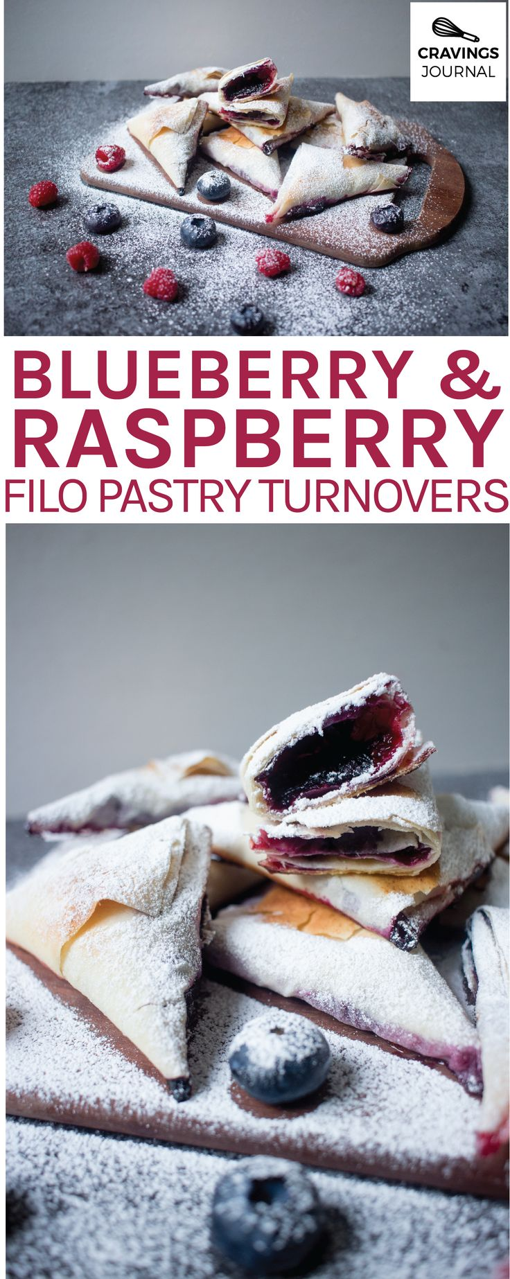 Blueberry and raspberry turnovers wrapped in filo / phyllo pastry by Cravings Journal