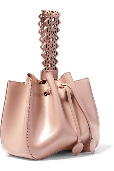 Blush leather (Calf) Drawstring top Designer color: Sable Weighs approximately 2.2lbs/ 1kg Made in Italy