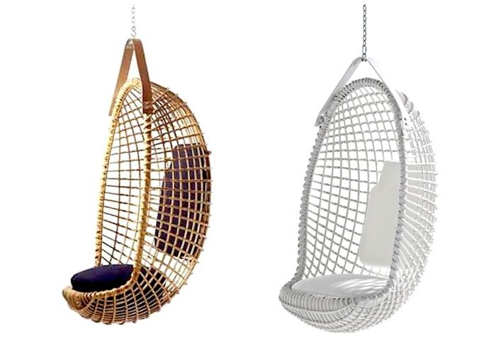 A midcentury design, the Eureka Hanging Chair by Giovanni Travasa is still being handmade in Italy, with a leather hanging strap. Prices start at $5,600, depending on the finish, at Property Furniture.
