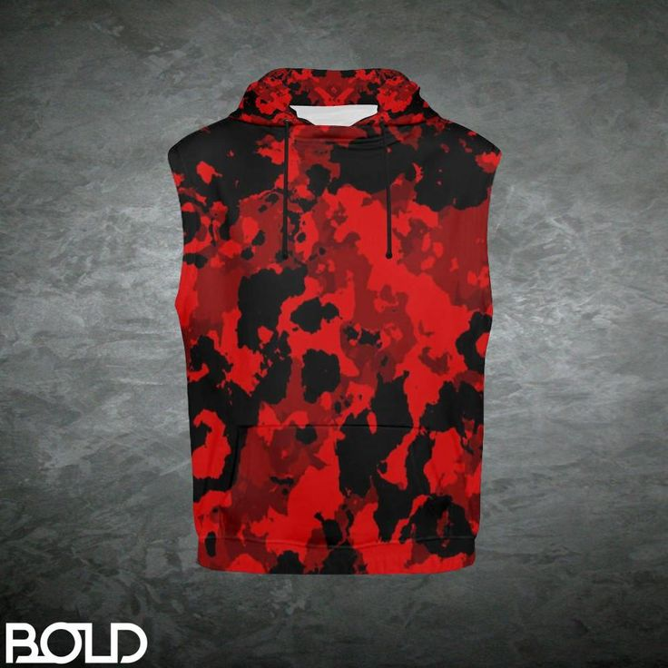 Blood Red Camouflage Women's Sleeveless Pullover Hoodie