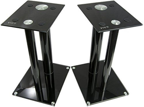 #VIVO premium universal aluminum and glass speaker stand (2 stands) for satellite speakers, bookshelf speakers, and more. Designed to elevate your speakers and e...