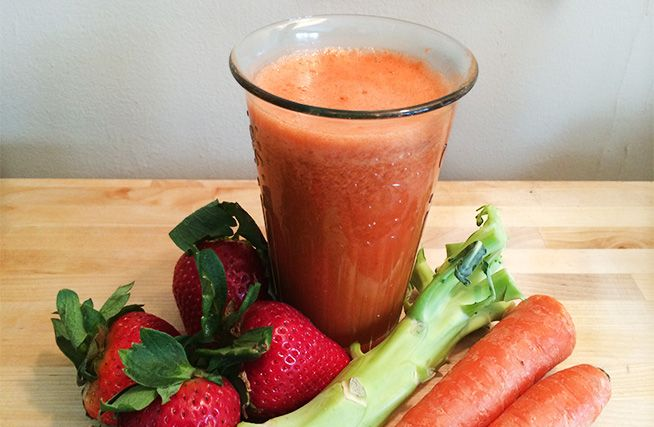 Broccoli/Carrot/Strawberry Juice.  What a good way to use those broccoli stems that I usually throw away!
