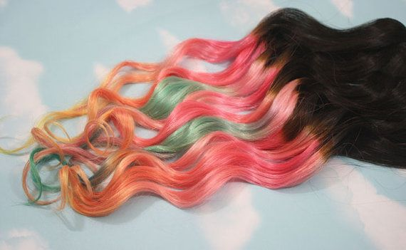 Sunset Ombre Dip Dyed Hair Clip In Hair Extensions by Cloud9Jewels, $112.00