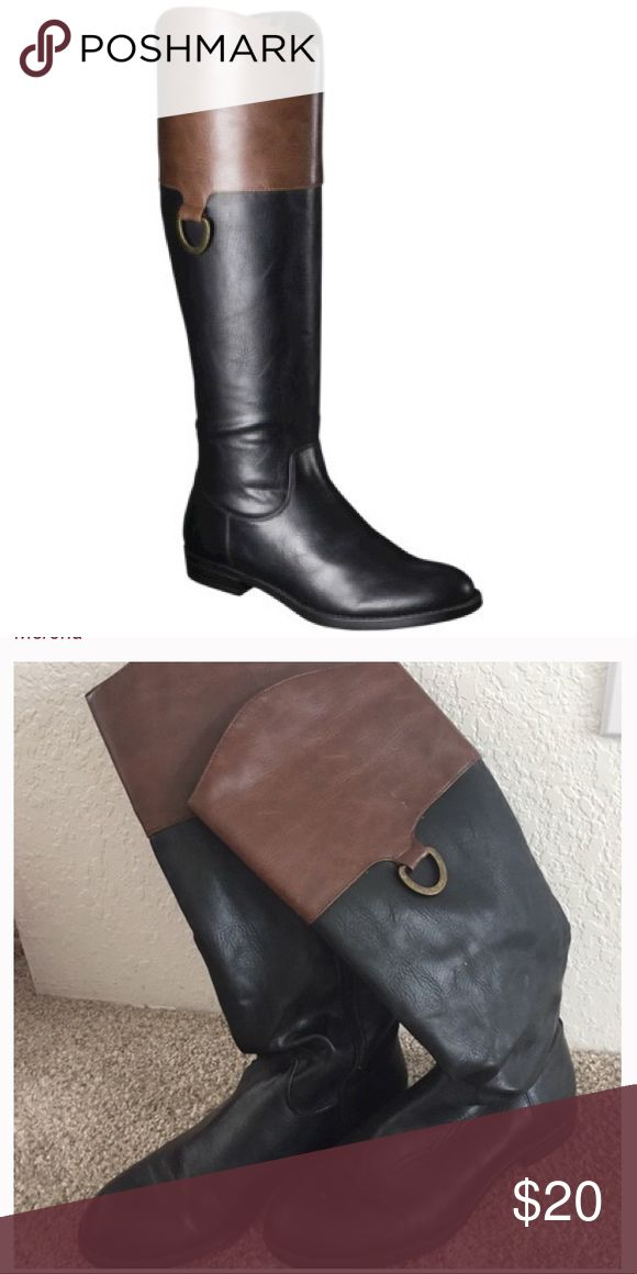 Black + Brown Boots Merona black boots with brown top detailing. Tall riding boot style. Size 6.5. Great condition just don't fit them well as my feet got bigger while pregnant 😵. My loss is your gain! Open to offers. Merona Shoes