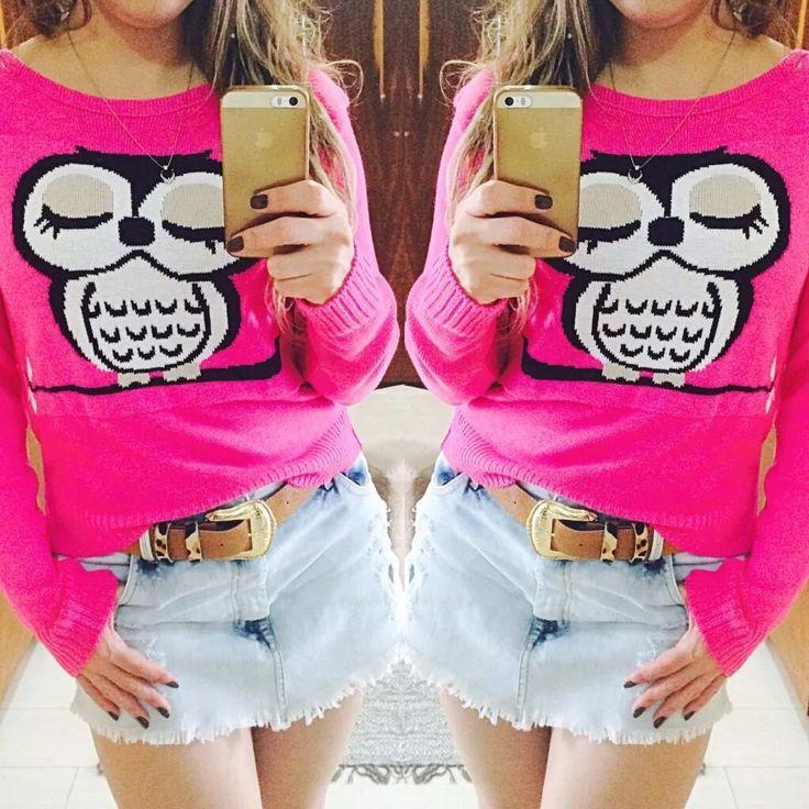 blusa tricot feminina coruja, mickey, frajola, âncora