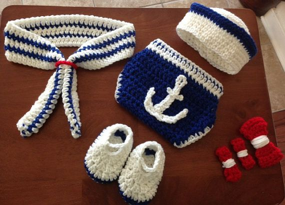 Crochet sailor outfit for boy and girl by CrochetbyDestinee, $35.00