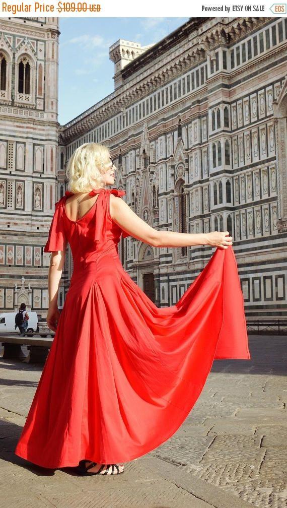 SALE 35% OFF Extravagant Red Dress / Cotton Red Dress / https://www.etsy.com/listing/387236182/sale-35-off-extravagant-red-dress-cotton?utm_campaign=crowdfire&utm_content=crowdfire&utm_medium=social&utm_source=pinterest