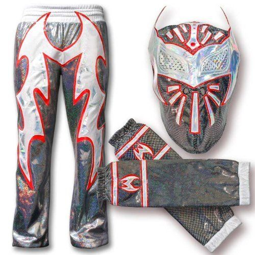WWE Black Sin Cara Combo Deal: Replica Mask, Pants & Armbands by WWE. $149.99. WWE Black Sin Cara Combo Deal: Replica Mask, Pants & Armbands.  Comes with one replica mask, one pair of pants and one pair of armbands.    Masks cover your entire head, just like Sin Cara's on television.  This collectable design is handmade and carefully crafted to protect the integrity of the mask.  Masks are made of a stretchable material with faux leather accents and come in one size f...